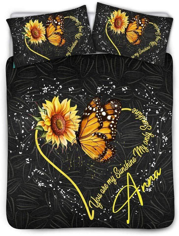Butterfly Sunflower you are my sunshine Personalized Name Duvet Cover Bedding Set #V