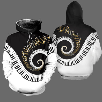 Musical Notes and Piano Hoodie 3D All Over Print #1212L