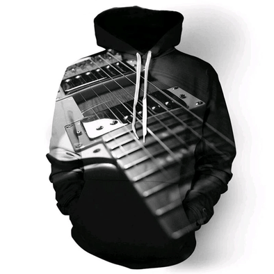 Music Black Guitar Hoodie 3D All Over Print
