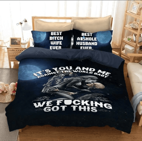 You and Me Against The World Skull Duvet Cover Bedding Set