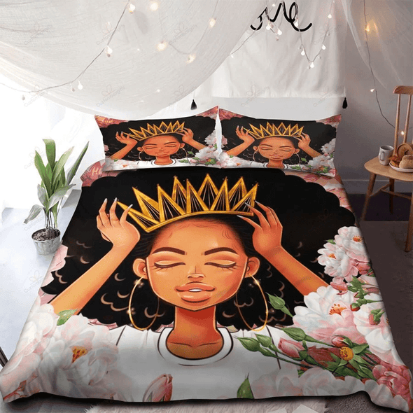 Black Queen Floral Personalized Name Duvet Cover Bedding Set