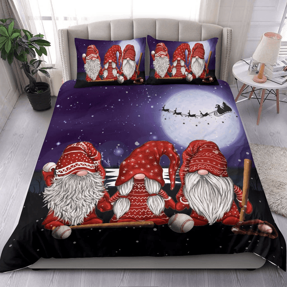 Baseball Christmas Three Gnomes Bedding Personalized Name Duvet Cover Bedding Set