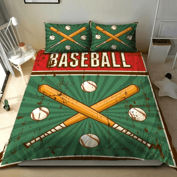 Baseball Green Vintage Personalized Duvet Cover Bedding Set with name