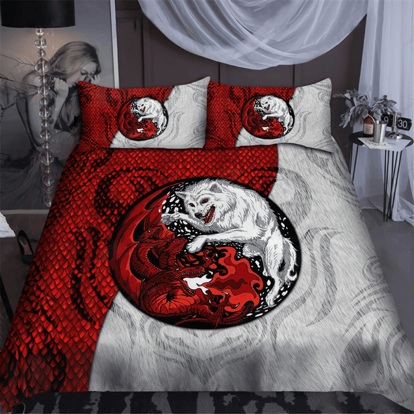Red Dragon And White Wolf Personalized Name Duvet Cover Bedding Set