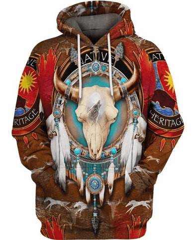 Native America Bull Head Hoodie 3D All Over Print