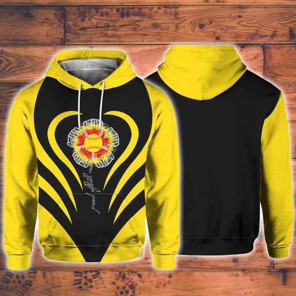 Proud Softball Mom Yellow Flower Hoodie 3D All over print