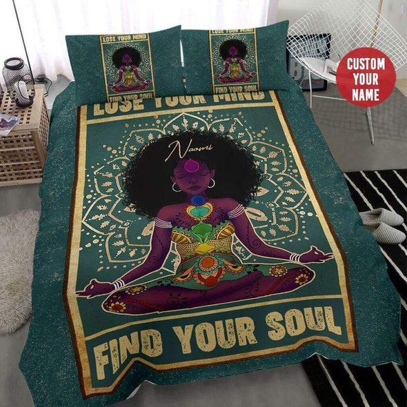 Black girl yoga lose your mind find your soul Personalized Name Duvet Cover Bedding Set #138