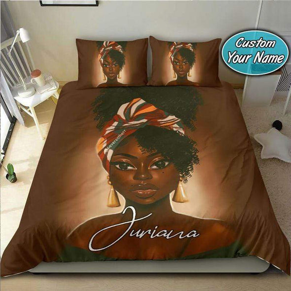 Black women with turban African Personalized Name Duvet Cover Bedding Set #2006v