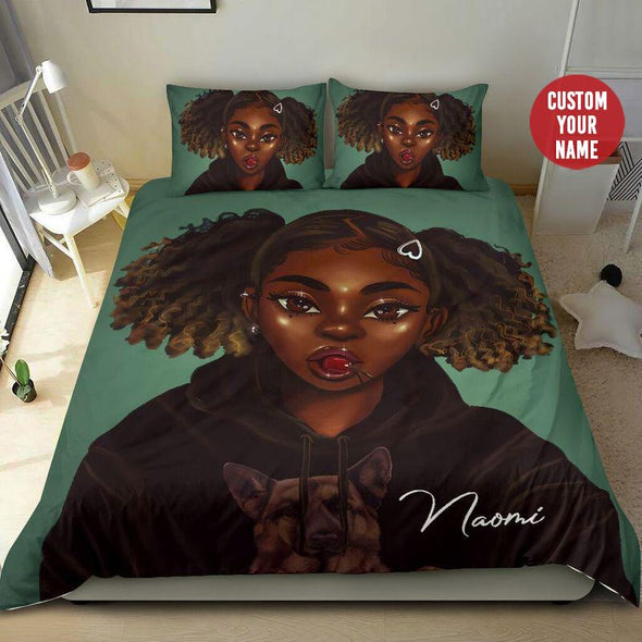 Black girl love dogs Personalized Name Duvet Cover Bedding Set #148H