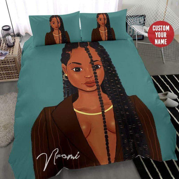 Black Sassy Girl Long Braid Hair Personalized Name Duvet Cover Bedding Set #1409H