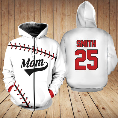 Personalized Custom Name And Number Baseball Mom White Hoodie 3D #150321l