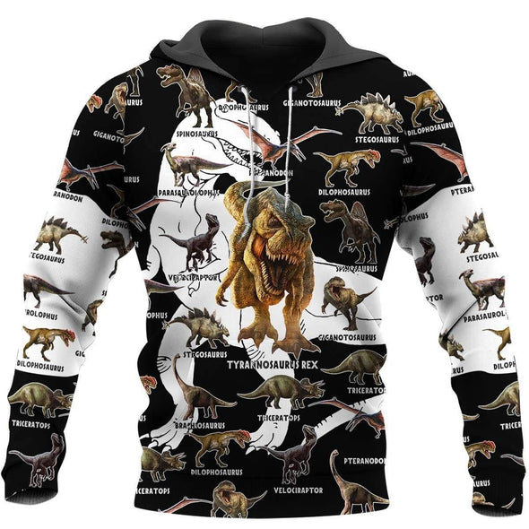 Types of dinosaur B&W Hoodie 3D All over print