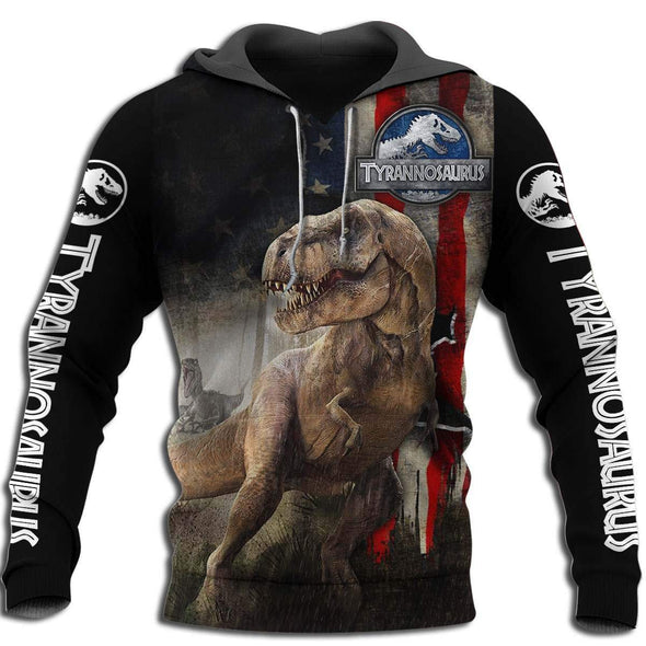 Honor Tyrannosaurus American Flag Pattern Hoodie 3D All over print
