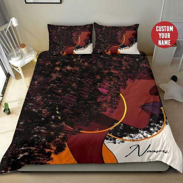 Black Girl Curly Afro Personalized Name Duvet Cover Bedding Set #1609H