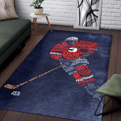 Ice Hockey Player Words Rectangle Rug