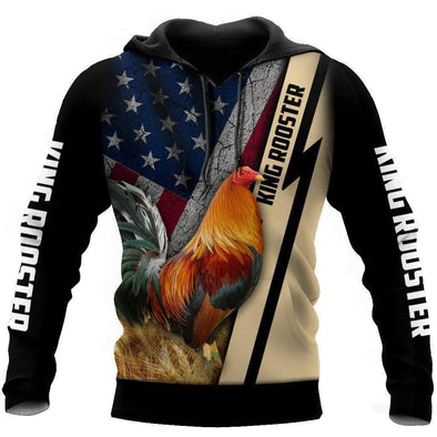 King Rooster American Flag Hoodie 3D All Over Print