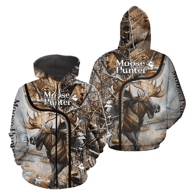 Moose Hunter Game Over Hoodie 3D All Over Print