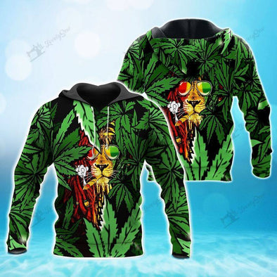 Lion Weed Smoking Hoodie 3D All Over Print