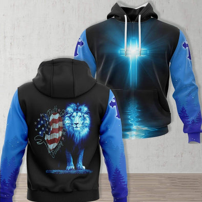 Lion Jesus Faith Family Freedom Hoodie 3D All Over Print