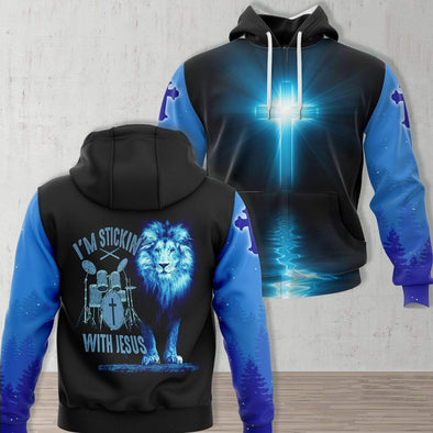 Lion Jesus Drum I'm Stickin With Jesus Hoodie 3D All Over Print