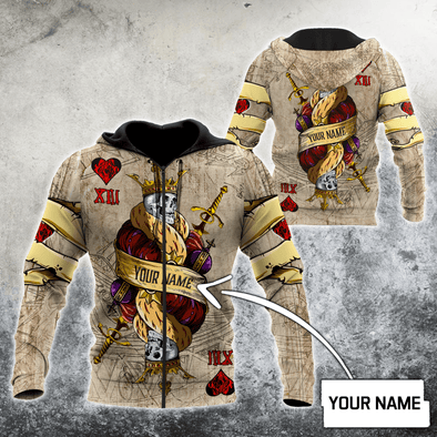 Poker King Skull Custom Name Hoodie 3D All Over Print