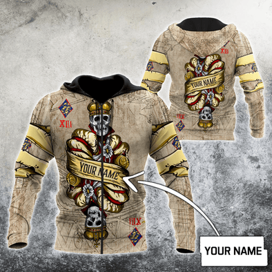 Poker King Skull V2 Custom Name Hoodie 3D All Over Print