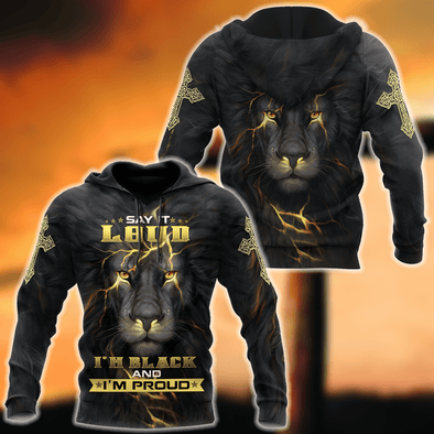 Lion I'm Black And I'm Proud Hoodie 3d All Over Print