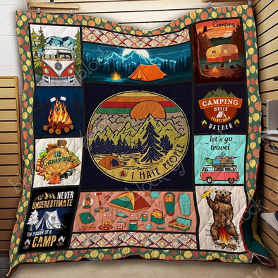 Camping I hate people All Season Quilt Throw Blanket