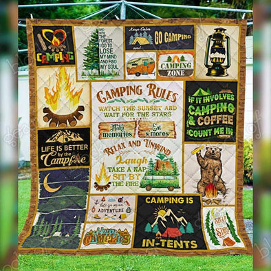 Camping Life is Better by The Campfire All Season Quilt Throw Blanket #V