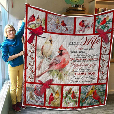 Cardinal to My Wife I love You All Season Quilt Throw Blanket #510H