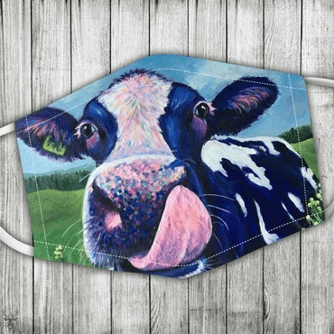 Cow in the farm Full printed Face Mask