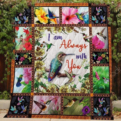 Hummingbird and Flower colorful All Season Quilt Throw Blanket #H