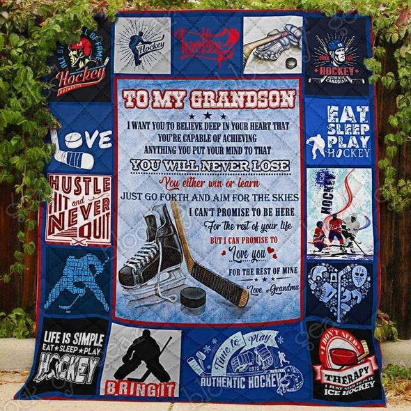 Ice Hockey to my grandson All Season Quilt Throw Blanket #0806V