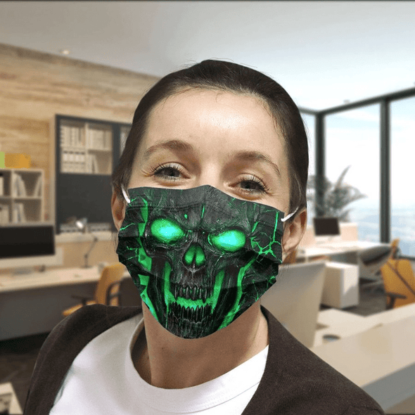 Neon skull face Full printed Face Mask