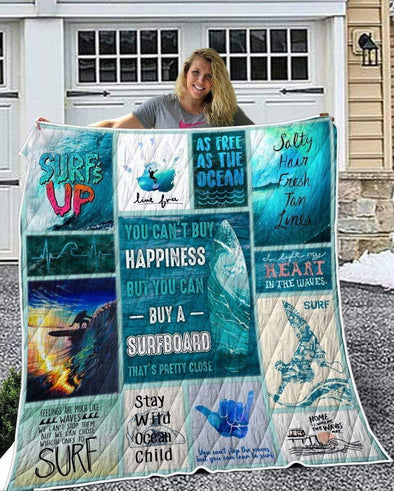 Surfing Ocean Happiness All Season Quilt Throw Blanket #2309H