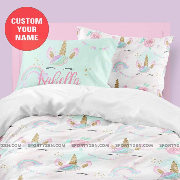 Unicorn Simple Pattern Pastel Custom Name Duvet Cover Bedding Set #V