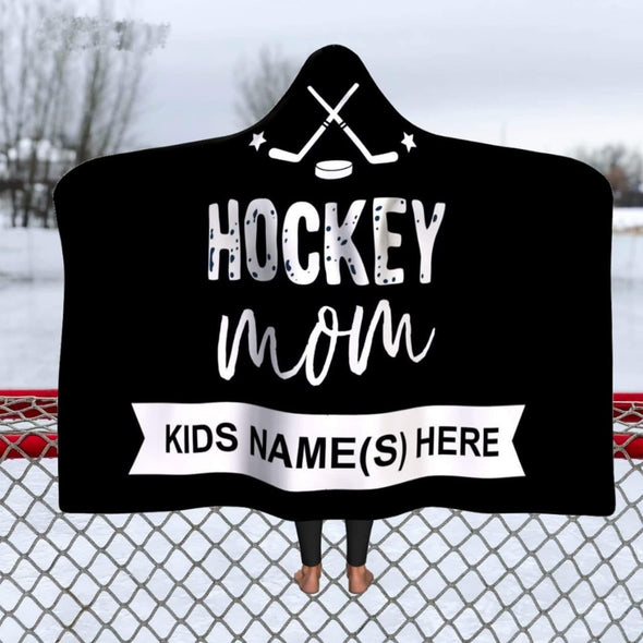 Personalized Hockey Mom Hooded Blanket #711L