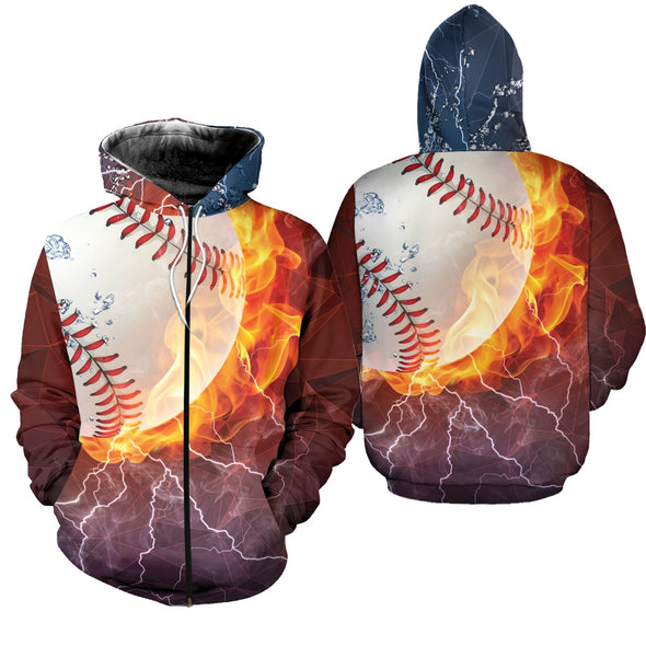 Baseball Fire With Thunder Hoodie 3D #1702l