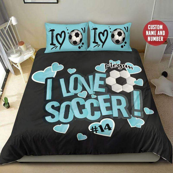 I Love Soccer Fan Girl Personalized Name & Number Duvet Cover Bedding Set #1708H