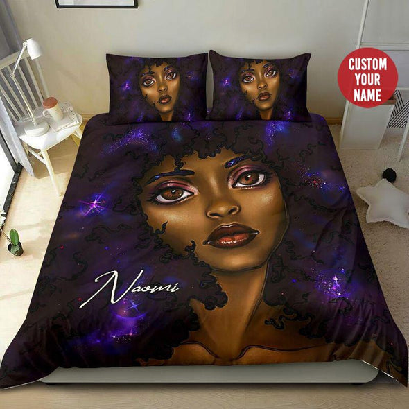Personalized Duvet Cover Bedding Set Black Cool Girl Dreamer #1809H