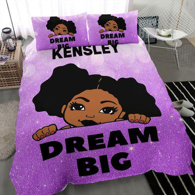 Dream big Black girl African Personalized Name Duvet Cover Bedding Set #2307h