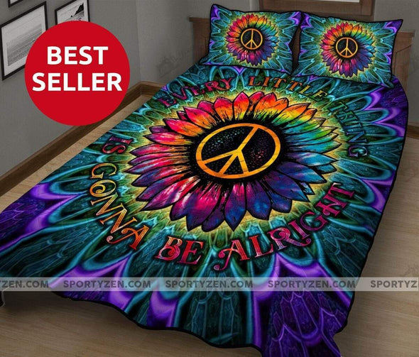 Hippie Sunflower Peace Everything is gonna be Alright Quilt Bed Set