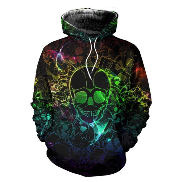 Skull Colorful Light Hoodie 3D All Over Print #1012H
