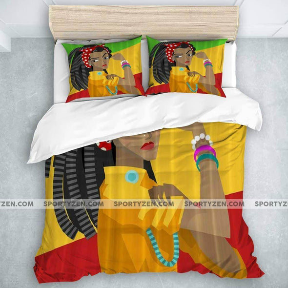 African Strong Independent Black Woman Duvet Cover Bedding Set