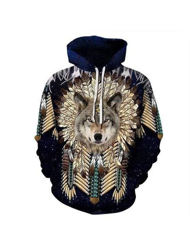 Native American Wolf Warrior Hoodie 3D All Over Print