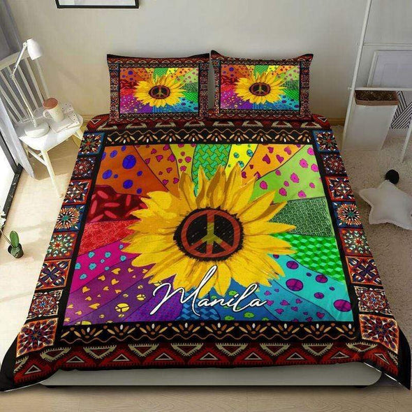 Sunflower Peace Love Personalized Name Duvet Cover Bedding Set #210L