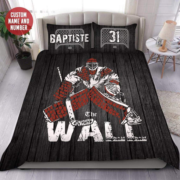 Hockey Goalie The Wall Personalized Duvet Cover Bedding Set with Your Name