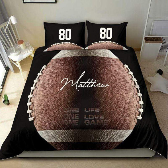One life one love one game American Football Duvet Cover Bedding Set with Your Name #L