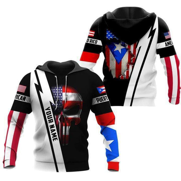 Custom Name Puerto Rico combine American Skull Hoodie 3D All over print