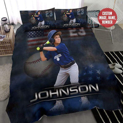 Baseball Player Personalized Your Photo Duvet Cover Bedding Set with Your Name #228h
